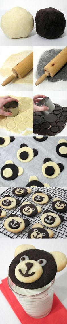 Teddy Bear Cookies or panda cookies too Cookie Desserts, Just Desserts, Cookie Recipes, Delicious Desserts, Dessert Recipes, Yummy Food, Baking Recipes, Cupcakes, Cupcake Cakes
