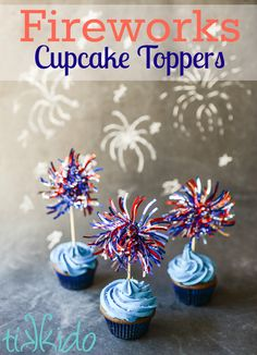 Make quick and easy patriotic fireworks cupcake toppers for your of July party with just a few supplies from the dollar store. Fourth Of July Cakes, Fourth Of July Food, 4th Of July Party, July 4th, 4th July Cupcakes, Patriotic Cupcakes, Boy First Birthday, First Birthday Parties, Birthday Ideas