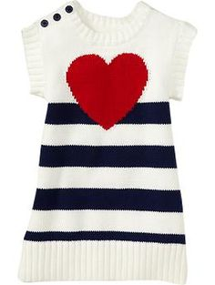 Striped-Heart Print Sweater Dresses for Baby | Old Navy