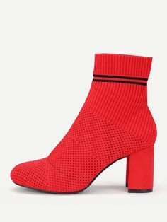 To find out about the Striped Detail Block Heeled Knit Ankle Boots at SHEIN, part of our latest Boots ready to shop online today! Boots Online, Block Heels, Peep Toe, Ankle Boots, Detail, Knitting, Shopping, Shoes, Amp