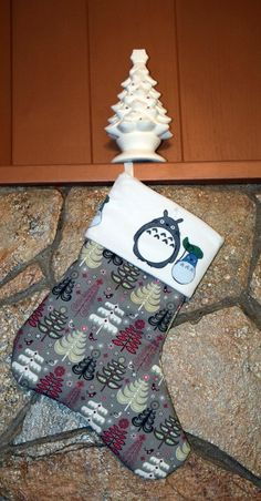 Large Minky Totoro With Christmas Trees by TheQuiltedPtarmigan