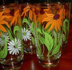 Vintage Mid Century Retro Set of 7 Drinking Glasses Tumblers Flower Power | eBay