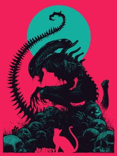Alien: Jonesy (variant), by Godmachine Art Alien, Alien Film, Alien Vs Predator, Giger Alien, Alien Covenant, Aliens Movie, Movie Poster Art, Geek Art, Cool Posters