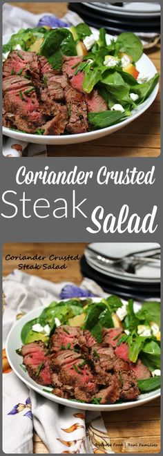 Coriander Crusted Steak Salad is a delicious, lean healthy dinner. Use warm steak fresh from the grill or use up leftover steak from earlier in the week for a cook once, eat twice meal plan. Grilling Recipes, Veggie Recipes, Beef Recipes, Whole Food Recipes, Vegetarian Recipes, Healthy Recipes, Salad Recipes, Smoker Recipes, Healthy Salads