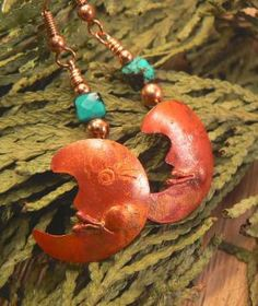 Copper moon earrings with turquoise beads by 3cedarsjewelry
