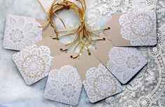 Lace doily cocoa gift tags by wondertrading on Etsy