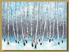 FREE SHIP large abstract painting, winter landscape painting, birch tree forest, birch trees painting, snow impressionist, art on canvas