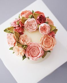 Sweet floral wreath + cake + pink