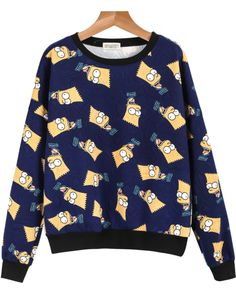 Blue Long Sleeve Simpson Print Loose Sweatshirt 15.00