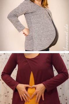 Tolles Baukasten-Shirt, das auch in der Schwangerschaft passt und Stilleingriffe hat, die unter Passen versteckt sind - Schnittmuster und Nähanleitung via Makerist.de