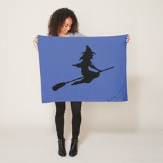 Shop Witch fleece blanket small created by Manitoba_Haunted. Personalize it with photos & text or purchase as is! Spooky Halloween, Halloween Decorations, Witch Flying On Broom, Cute Ghost, Edge Stitch, Personalized Stationery, Cozy Blankets, Dog Bowtie