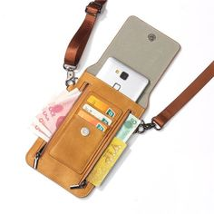 Vintage PU Leather Card Holder Phone Bag Shoulder Bag Crossbody Bags - Lilly is Love Crossbody Shoulder Bag, Leather Crossbody Bag, Leather Handbags, Leather Wallet, Leather Bag, Crossbody Bags, Leather Totes, Cheap Handbags, Purses And Handbags