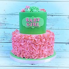 """Instagram photo by sugarmillcakes - I've always loved pink and green together, so when a client ordered a """"girl baby turtle"""" themed cake for a baby shower, I jumped at the chance to use these colors again. #sugarmillcakes #cake #cakes #babygirl #babyshower #babyshowercake #pink #pinkruffles #specialtycake #customcake #tieredcake #fondant #fondantcake #turtle #babyturtle #ruffles #oaklandzoo #eastbay #bayarea"""