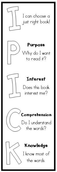 "FREE printable ""I PICK"" bookmark. Two templates--one with explanation for each letter, one with only letters so students can write the words. LOVE this as a personalized reminder for them when selecting independent reading books!"