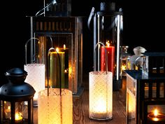Cosy, versatile lanterns    Create a cosy feeling with candles in lanterns.