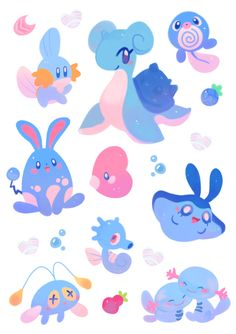 """ieafy: """" water pokemon ~! ♥ they are available for purchase as a sticker sheet here! """""""