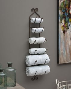 Wine Bottle Rack Bath Towel Holder Iron Bronze Finish Wall-Mount Decor Storage