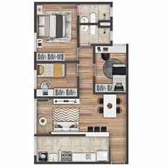 "MD Arquitetura's Instagram post: ""Residencial Jardim III | Apartamento 3/4 | Planta humanizada  #arquitetura #architecture #design #apartamento #engenharia #engineering…"" Apartment Floor Plans, House Plans, Loft, Flooring, Instagram, Sims, Houses, Park, Design"