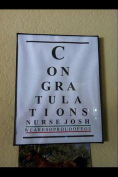 Congratulations Eye Chart ~ Nurse graduation / medical... cool card