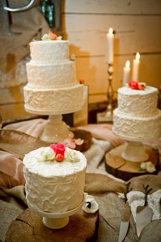 romantic garden cake table // photo by Swoon Over It // cakes by Ambler Bake Shop // View more: http://ruffledblog.com/romantic-terrain-wedding/