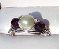 Pearl & Amethyst wrap ring