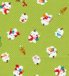 Little Chinese Boys on Lime- Japanese Fabric $7.50 per one-half yd