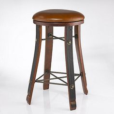 Furniture: Leather Bar Stools Best Of Vintage Oak Wine Barrel Round Bar Stool With Leather Seat Wine - New Leather Bar Stools Wine Barrel Bar Stools, Rustic Bar Stools, Wooden Bar Stools, Leather Bar Stools, Leather Seats, Wine Barrels, Wine Cellar, Modern Wood Furniture, Bar Furniture