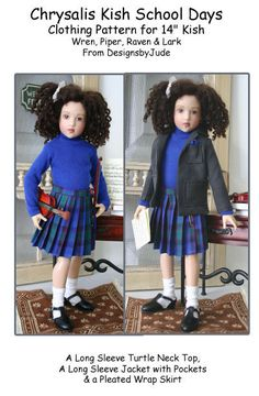 """School Days Doll Clothes Sewing Pattern 14"""" Kish Wren, Piper & Raven #DesignsbyJude"""