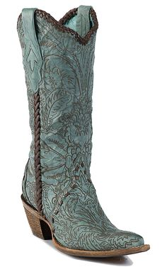 """Corral® Ladies 13"""" Vintage Turquoise w/Engraved Lace Tool Pointed Toe Western Boot 