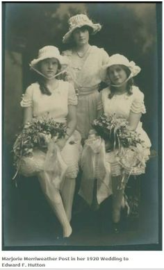 Wedding of Marjorie Merriweather Post to E F Hutton, w/ her daughters Adelaide and Eleanor Close 1920