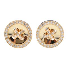 Van Cleef & Arpels Diamond Gold Button Earclips | From a unique collection of vintage clip-on earrings at http://www.1stdibs.com/jewelry/earrings/clip-on-earrings/