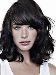 medium length haircuts for wavy curly hair with bangs - Google Search
