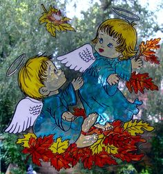 WICOART STICKER WINDOW COLOR CLING FAUX STAINED GLASS ANGELOTS D'AUTOMNE