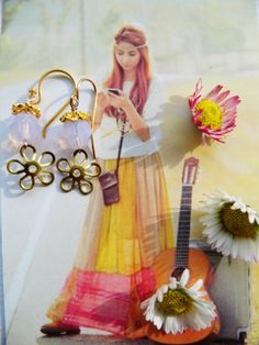 Øreringe lilla med forgyldte blomster til boheme kvinden. 175,- kr. -køb direkte - nemt og hurtigt - skriv en besked - porto gratis.  Earrings purple med gold plated flowers for the bohemian woman - bye here easy - shipping free! www.annweidesign.com - se more!