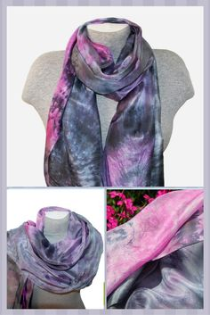US$42.00  The silk scarf is perfect for year round wear and makes a great luxury gift for someone you love or a much-deserved treat for yourself!  This method of dyeing enables the colors to creep and flow throughout the silk-giving each piece a wonderful watercolor effect. The dyes flow into each other, creating a complex variety of color gradations. #silk #silkscarf #boho #accessories #womenaccessories