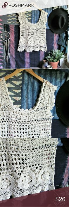 UO 'cactus blossom' boho festival crochet top Crocheted top by Pins and Needles in a beautiful creamy cotton! Absolutely perfect for layering with your favorite festival pieces ;) or this would be a sweet beach cover up when you want a little relief from the sun but you still want everyone to know you have a rockin' bod, hehe. Size medium, cotton/ramie blend. Urban Outfitters Tops