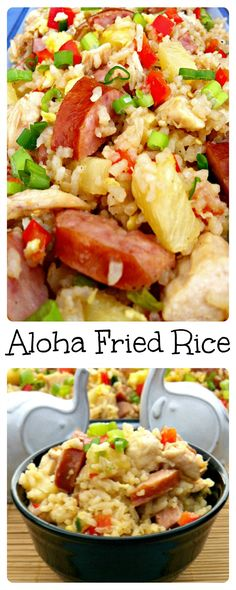 Aloha Fried Rice ~ The Complete Savorist Traditional fried rice given an island make-over with pineapple, chicken, and sausage. Aloha Fried Rice ~ The Complete Savorist Traditional fried rice given an island make-over with pineapple, chicken, and sausage. Pineapple Sausage Recipe, Pineapple Chicken, Chicken Sausage Recipes, Kielbasa Recipes Rice, Rice Recipes, Sausage Rice, Crowd Recipes, Recipies, Chicken Bacon