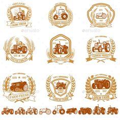 Buy Set of Vintage Farmer Emblems with Tractors by Kotliar on GraphicRiver. Set of vintage farmer emblems with tractors. Design element for logo, label, sign, poster, t shirt.