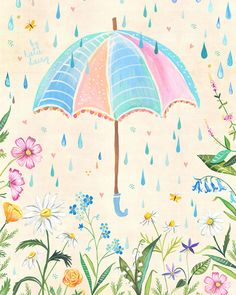 Spring Rain art print | Watercolor painting | Nursery Decor | Katie Daisy | 8x10 | 11x14