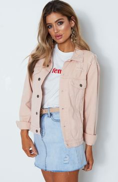 Explore our range of women's blazers, knits, cropped hoodies, teddy jackets and more in a range of colors and styles. Pink Denim Jacket, Denim Skirt, Cropped Hoodie, Distressed Denim, My Outfit, Casual Outfits, Hoodies, My Style, Clothing