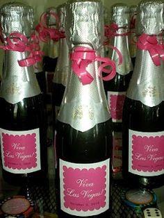 Viva Las Vegas! Bachelorette Party champagne labels