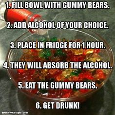 Alcoholic Adult Gummy Bears Recipe........it says an hour but it needs more like days!  Awesome for the beach. JS