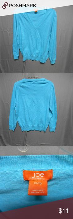 9bf62c40325 Joe Fresh blue V neck sweater x-large 55% cotton