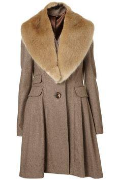 Faux Fur Collar Wool Skirt Coat - StyleSays