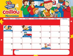 Celebrate #November with this adorable Mommy&Me™ and Caillou Calendar! Download this #free printable calendar now!