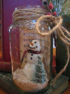 Snowman In a Mason Jar With Christmas Music by EnchantedPath, $32.00