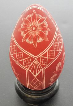 Dark Red Etched Turkey Egg by LoneArts on Etsy, $50.00