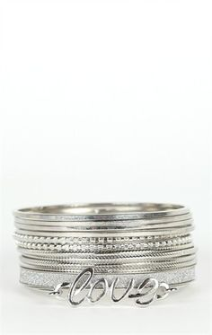 Deb Shops #Bangles Set with #Love, Textures, and Glitter $8.62