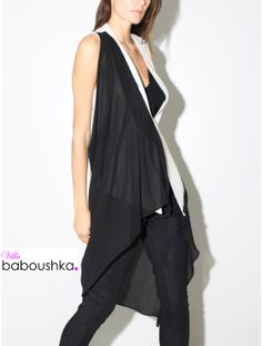 Long gilet with #chiffon detail in #bone/black by #DEMOO PARKCHOONMOO available now #villababoushka #fashion #egypt #concept store