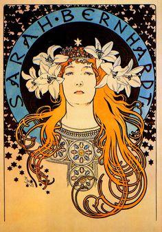 SARAH BERNHARDT, 1896 Alphonse Mucha Art Nouveau Rolled CANVAS PRINT 24x34 in